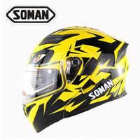 DOT Approval Soman 955 SkyEye Double Lens Street Motorcycle Helmets Breathable Moto Bike Flip up Helmet Capacetes Casco