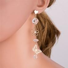 BK Long Drop Dangle Earrings New Design Fashion Statement Drop Earrings Female Jewelry Dropship Flower Butterfly Earrings
