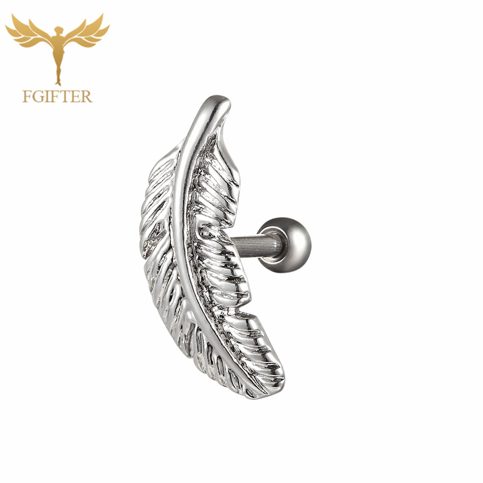 11361d18d G23titan Trendy Silver Feather Ear Tragus Piercing Studs 6mm Titanium  Labret for Ear Cartilage Helix Earrings Rings Body Jewelry