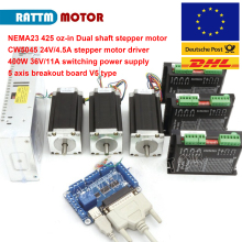 3 axis CNC controller kit 3pcs NEMA23 425 oz-in Dual shaft stepper motor&256 microstep 4.5A driver 57mm planetary gearbox geared stepper motor ratio 10 1 nema23 l 56mm 3a