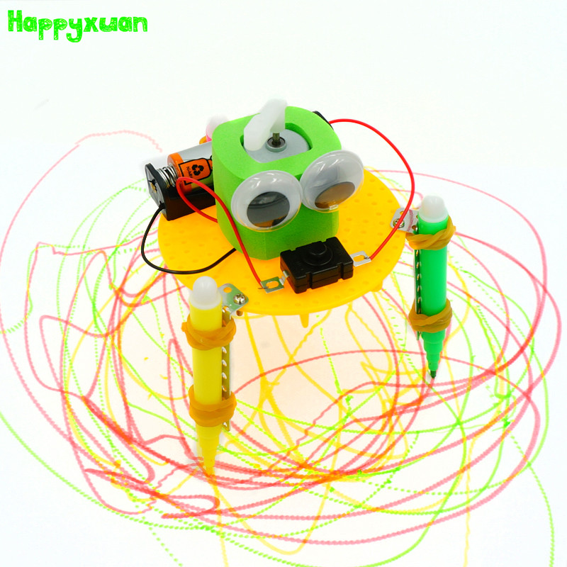 Happyxuan Cool Diy Graffiti Drawing Robot Kit with Pen Science Toys Experiment Technology Creative Education Primary School