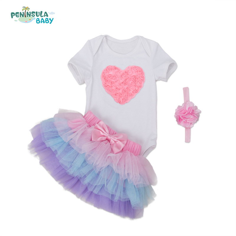 Body Bebe Menino Baby Girl Clothes Birthday Rompers Jumpsuit+Tutu Skirts+Headband 3pcs 1st birthday Newborn Bebes Clothings Sets