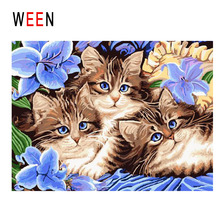 WEEN Cat Family Diy Painting By Numbers Animal Oil On Canvas Purple Flower Cuadros Decoracion Acrylic Wall Art For Home