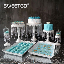 Crystal cake stand set 7 pieces wedding cake tools cupcake display tray for party event dessert candy plate decoration bakeware