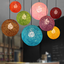 Colorful Ma Rattan Ball LED String Fairy Lights Wicker Pendant Light For Christmas Xmas Wedding decoration Party bar aisle lamps pastoral style rattan wicker pendant light natural simple birds house pendant light