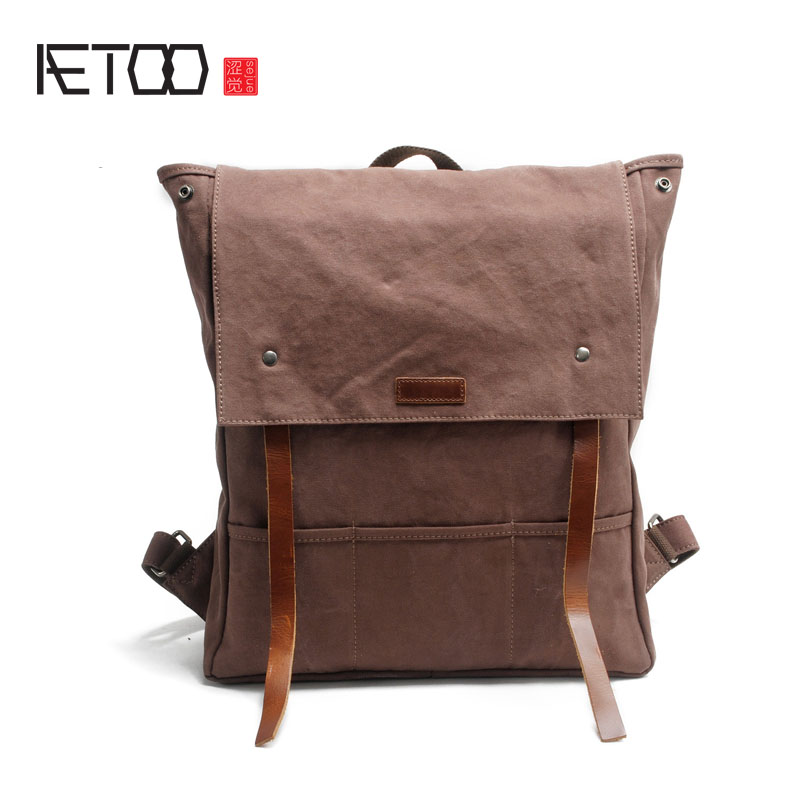 AETOO The new encryption canvas shoulder bag with the first layer of leather men's backpack fashion casual cloth aetoo korean version of the leather shoulder bag wholesale women fashion casual small backpack cute trend of the first layer of
