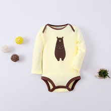 Long Sleeved Yellow Toldder Romper Newborn Baby Clothes Infant Boy And Girl Organic Cotton Bear Winter