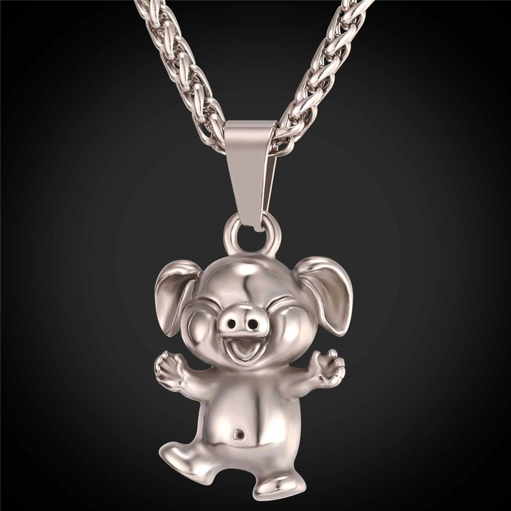 Cute pig pendant necklace women men jewelry with stainless steel cute pig pendant necklace women men jewelry with stainless steel chains fashion animal necklace lucky charms p2463g in pendants from jewelry accessories mozeypictures Gallery