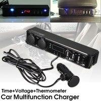 KROAK 12V Car Back Seat Mount 3 Port USB Power Charger Cigarette Lighter Socket Adapter Charger + Digital Voltmeter LED