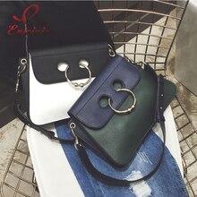 แฟชั่นออกแบบใหม่แหวนโลหะสไตล์เย็บหนังนิ่มหนังpuผู้หญิงไหล่ถุงถุงกระเป๋าc rossbodyของmessenger bagกระเป๋า