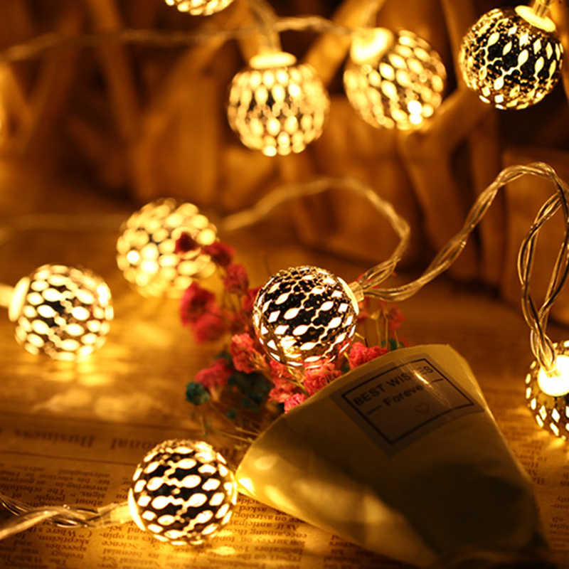 BTgeuse Morocco Ball LED Lamp Iron Creative Ball String Light for Decor Party Wedding Christmas Valentine's Day 3M 5M Garland