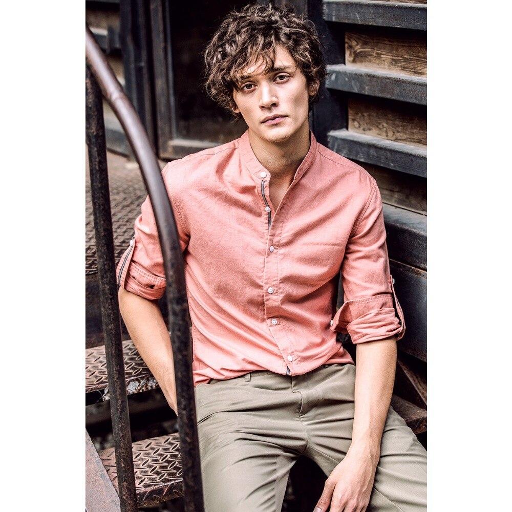 Mens le camice di vestito 2017 primavera nuovi arrivi stand solid completa del manicotto del retro di modo di giovane uomo casual in cotone e lino abbigliamento uomo - 2