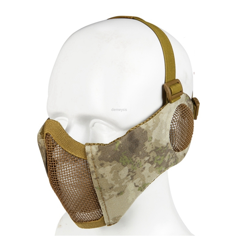 Camouflage Tactical Half Face Mask Airsoft Field Wargame Masks Ear Protection Hunting Tactics Mask