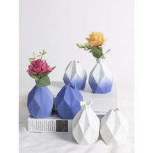 NEW Diamond geometric vase blue pink geometry Ceramic vases jarrones decorativos moderno flower home wedding decoration