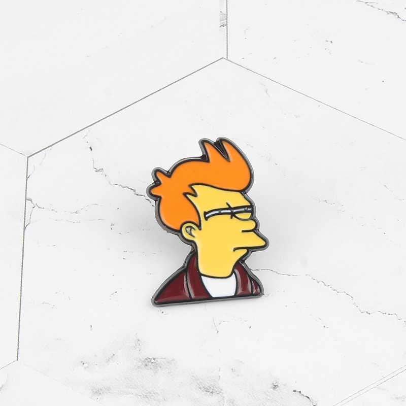 Kartun Komik Populer Futurama Philip J. goreng Bros Kemeja Kerah Jaket Enamel Pin Perhiasan Pria dan Wanita Paduan Lencana Hadiah