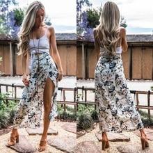 c864e6c00a Boho Style Women Asymmetric Long Skirt 2018 New Summer Vintage Floral Print  Side Slit Maxi Skirt