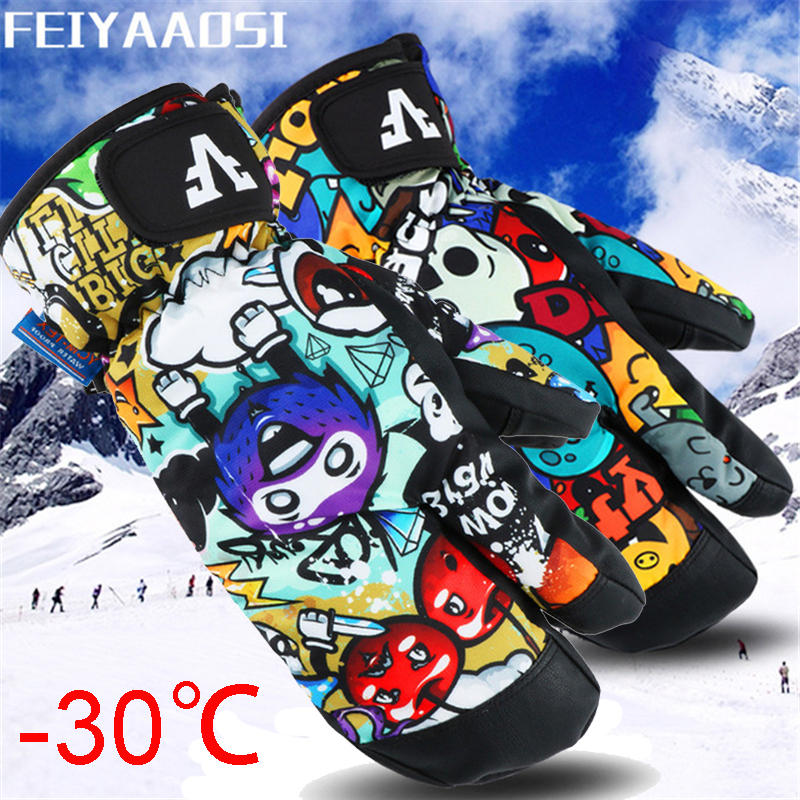 3 Finger Professional Snowboard Ski Gloves Waterproof -30 Winter Thermal Mittens Windproof Skiing Snowmobile Touch Screen Rope