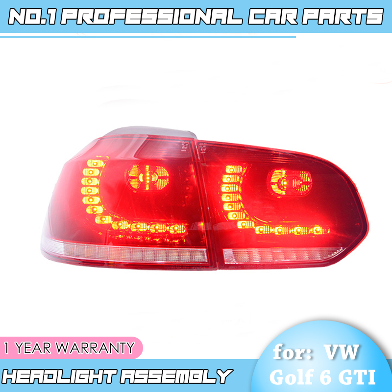 BiNFU for VW Golf 6 for Mk6 2010 2012 taillight R20 LED rear lamp DRL+Brake+Park+dynamic Signal ALL LED tailight Car Styling