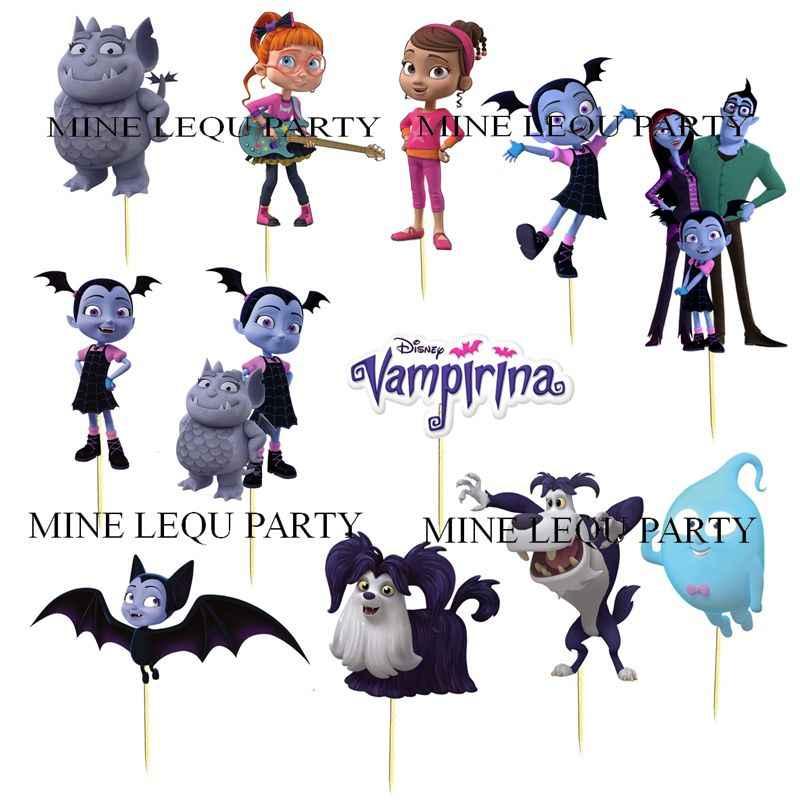 12pcs Vampirina Girl Theme Cartoon Party candy bar Cupcake Toppers pick fruit picks baby shower kids birthday Party Supplies