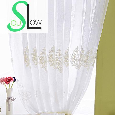 Slow Soul White Cotton Curtain Bedroom Living Room Curtains Tulle For  Cortinas Kitchen Europe Floral Sheer
