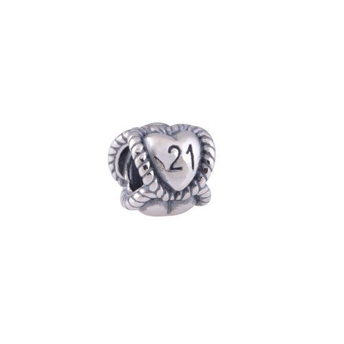 925 Sterling Silver 21st Birthday Milestone Thread Core Charm Beads