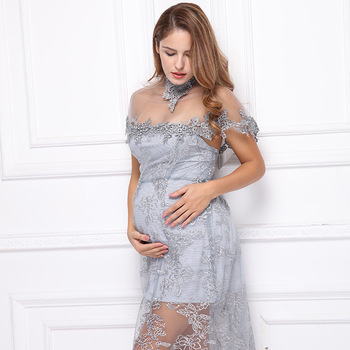Pregnancy Photography Lace Dress Maternity Gown Photo Shoot Embroidery Lace Dress Plus Size Pregnant Women Picture Shoot Clothes photo shoot