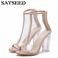 2018 Summer New Peep Toe Sandals Transparent Heel Sexy Fashion Cool Sandals Jelly Sandals Extreme High