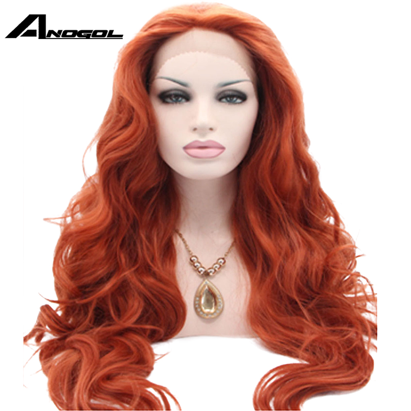 Anogol Heat Resistant High Temperature Fiber Hair Long Natural Wave Orange Auburn Copper Red Synthetic Lace