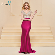 Dressv evening dress mermaid elegant short sleeves strapless floor length beading wedding party formal dress evening dresses