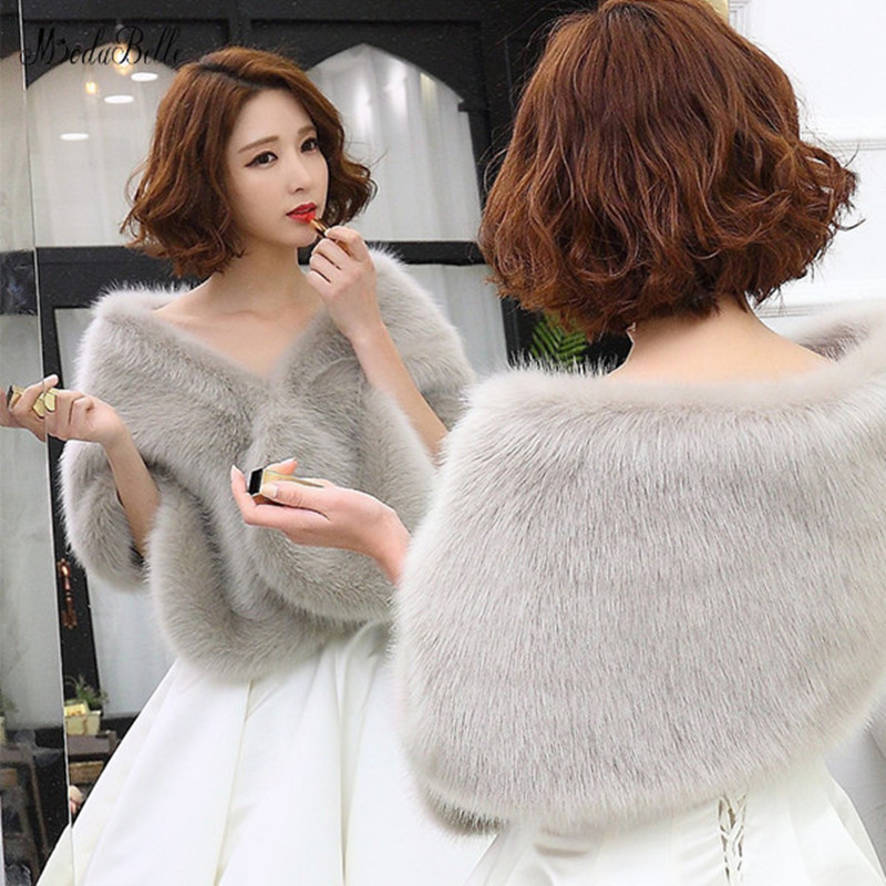 Modabelle Gray Winter Wedding Wrap Shawl Evening Bolero 2019 White Coat Bride Faux Fur Bolero Red Women Bridal Shawl