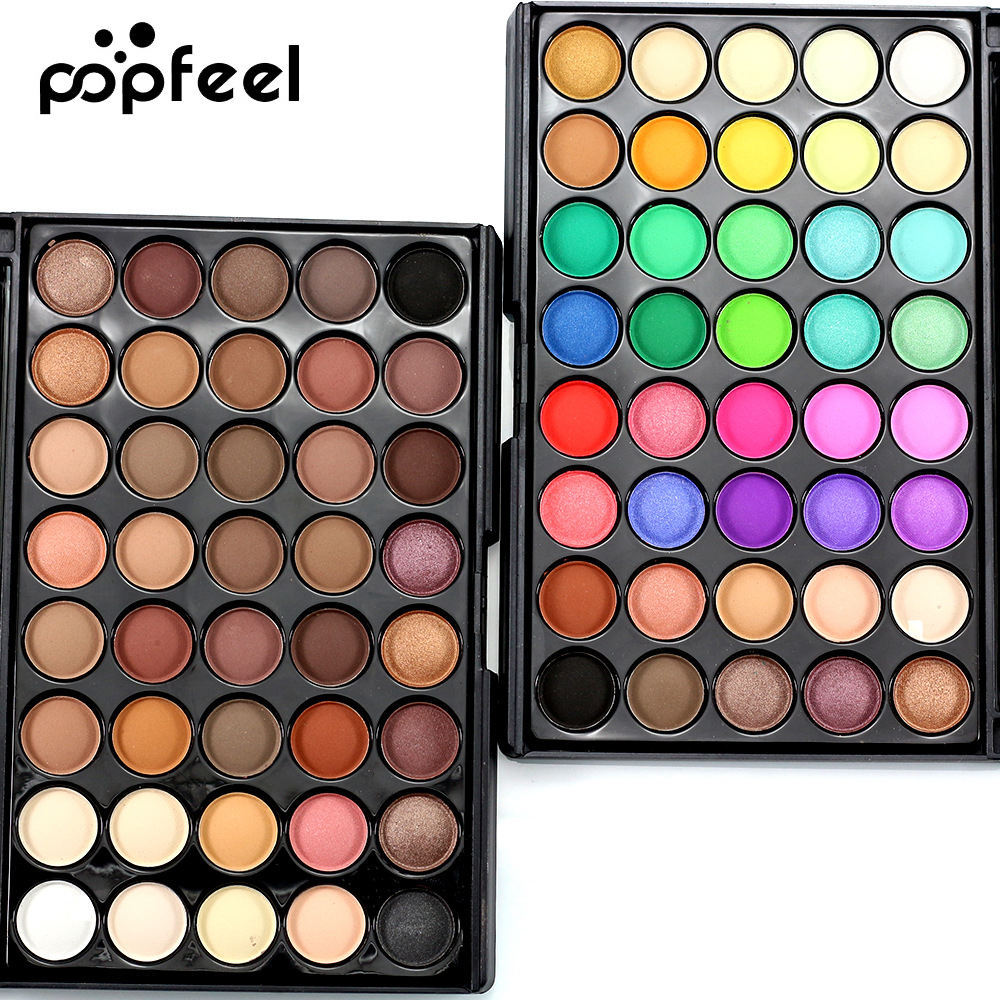Popfeel Women 40 Colors Eyeshadow Matt Light Pearl Color Eyeshadow Eye Power Pastel Color Eyeshadow Beauty Essentials