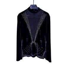 Latina baile camisetas de los hombres de diamantes de imitación de encaje  negro de terciopelo de manga larga Shirt-profesional . 23de413babd