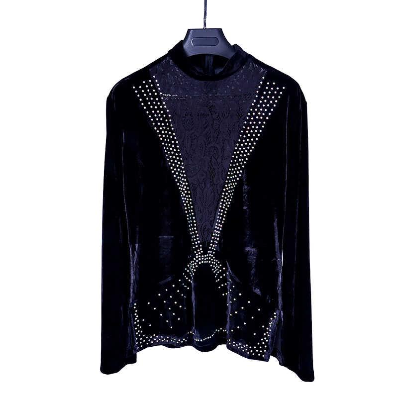 ec7c16159cc Latin Dance Shirts Men Rhinestone Black Lace Velvet Long Sleeve Dancing  Shirt Professional Salsa Rumba Tango Dancewear DNV10994
