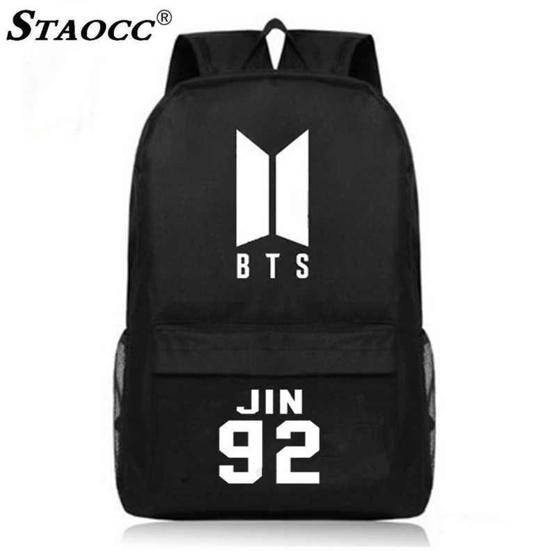 ... Black BTS Backpack School Bag Canvas Mochila Korea BTS Print Schoolbag  For Teenage Boys Girls Anti ... e4f2dca07b8a5