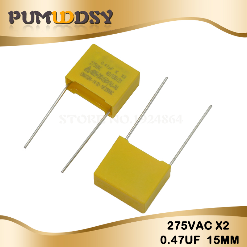 10pcs 470nF Capacitor X2 Capacitor 275VAC Pitch 15mm X2 Polypropylene Film Capacitor 0.47uF