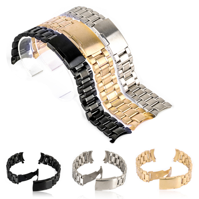 Shellhard 18/20/22/24mm Curved End Watch Band 3 Colors Stainless Steel Wristwatc