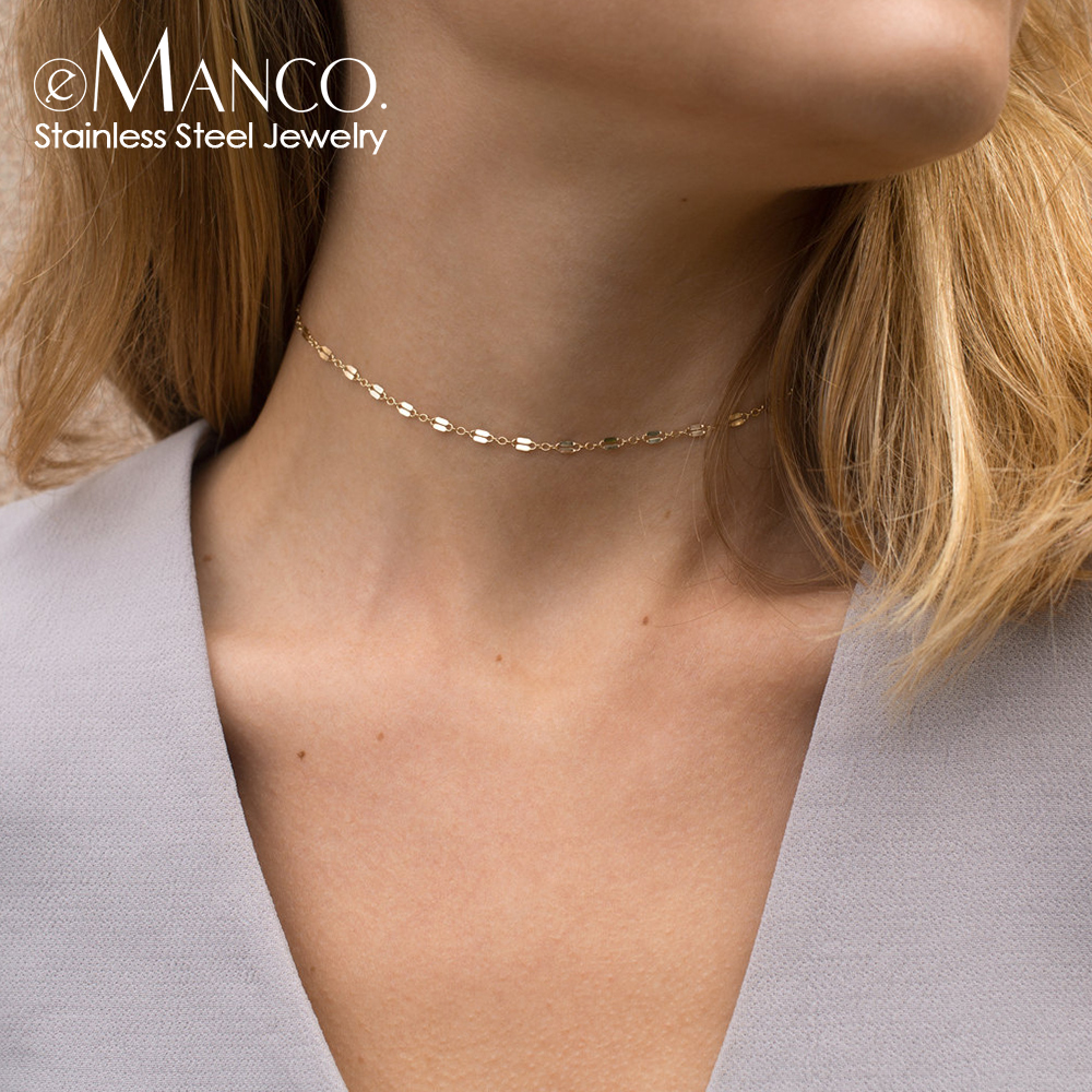 e-Manco DIY Multi Layered Necklace for women pendant stainless steel necklace women chain choker necklace