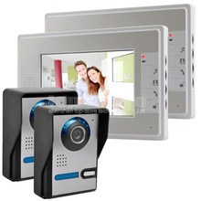 """DIYSECUR 7 """"Lcd de Color de Vídeo Timbre de la Puerta Del Kit de Teléfono Manos Libres 2 Monitores + 2 Ir Cámaras"""