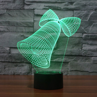 Christmas Gift 3D USB Led Christmas Bell Lamp 7 Color Changing 3D Visual Holiday Lighting Christmas