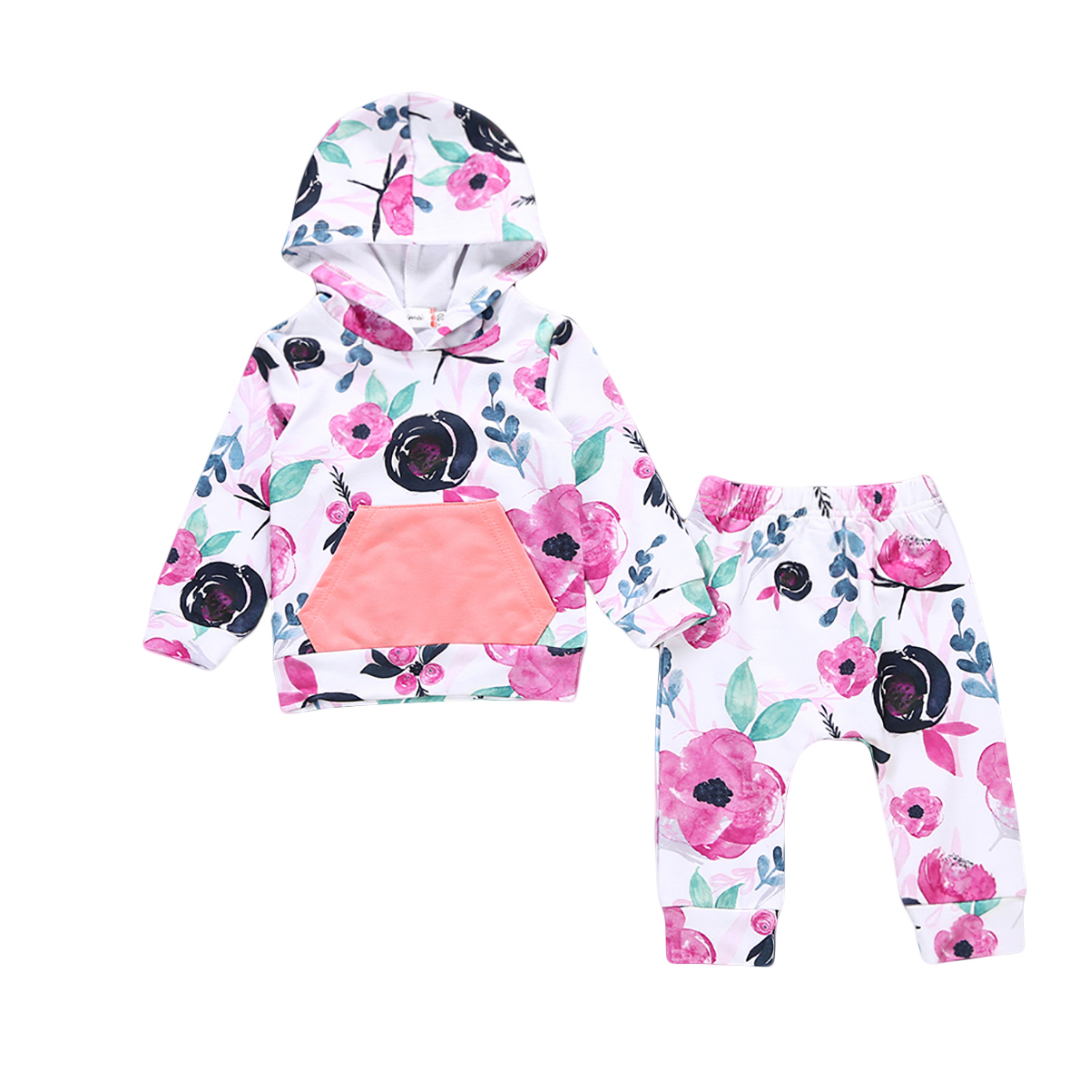 2PCS Floral Hooded Tops Pants Home Outfits Set Toddler Newborn Baby Girl Cotton Autumn Winter Clothes