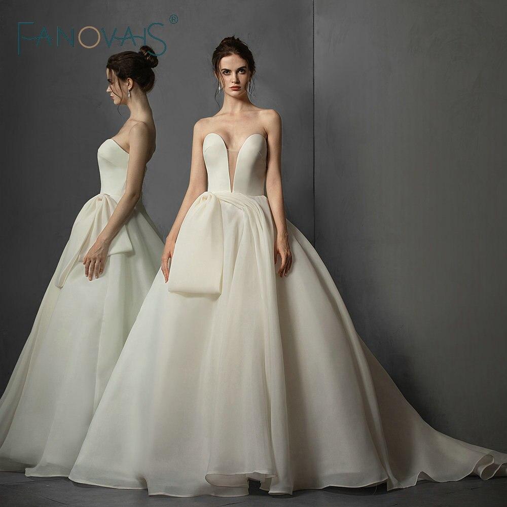 Ball Gown Wedding Dresses Vintage Simple Wedding Gowns 2019 Big Bow Bridal Gowns Vestio de Novia Robe de mairee
