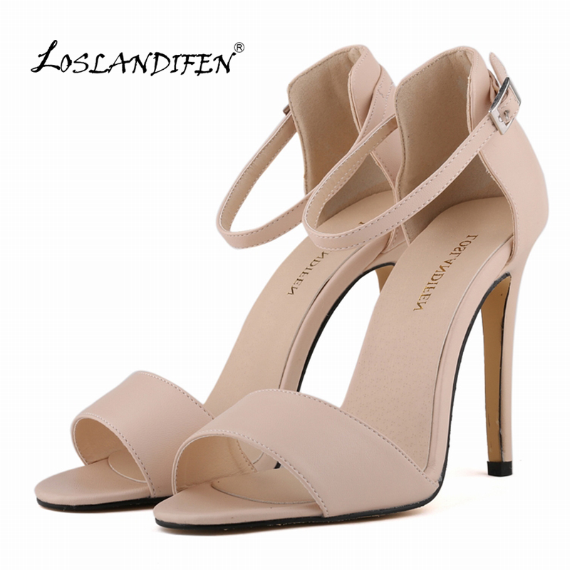 LOSLANDIFEN  Womens Sandals 11cm Open Toe Ankle Straps High Heels Summer Bridal PATENT LEATHER Pumps Femininos Sandalias 102-2MA