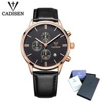 Cadisen Для мужчин s часы лучший бренд класса люкс хронограф световой часы Для мужчин Спорт Повседневное кожаные модные Бизнес кварцевые наруч