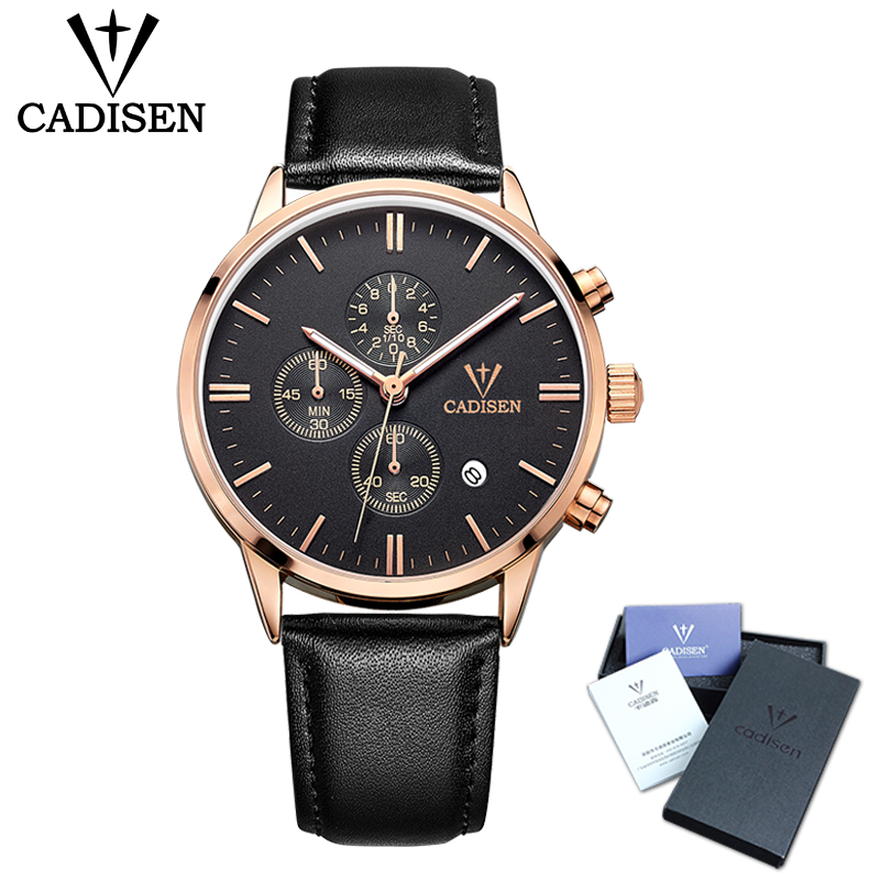 Cadisen Herreure Topmærke Luksus Chronograph Lysende Ur Herre Sport Casual Leather Fashion Business Quartz Armbåndsur 30M