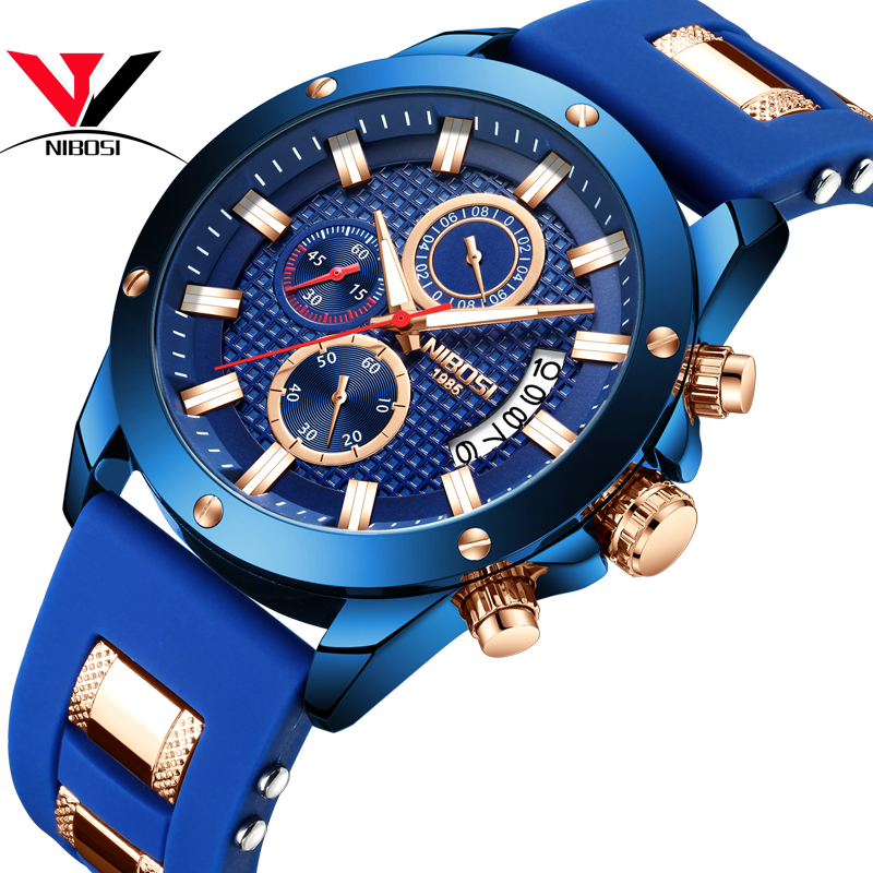 NIBOSI Chorograph Men Watches military/Sport/army Watches For Men 2018 Luxury Brand Waterproof Outdoor Watch Analog Silicone