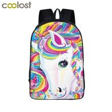 Fantasy Animal Colorful Unicorn Backpack Angel Cat Girls Book font b bag b font Boys font