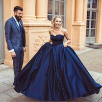 Navy Blue Ball Gown Prom Dresses 2019 Modern Sweetheart Sleeveless Lace up Back Arabic Women Formal Evening Gowns