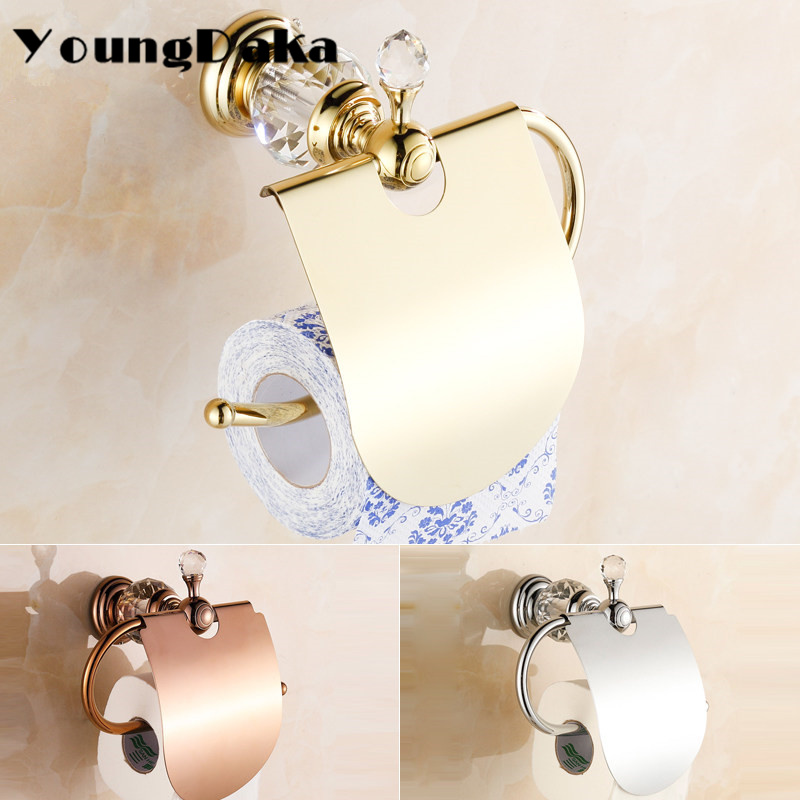 Luxury Crystal Brass Gold Paper Roll Holder Toilet  Paper Holder Bathroom Accessories Bath Hardware Papaer Storage Free shipping luxury brass gold toilet paper box roll holder bathroom accessories bath hardware crystal metal paper holder