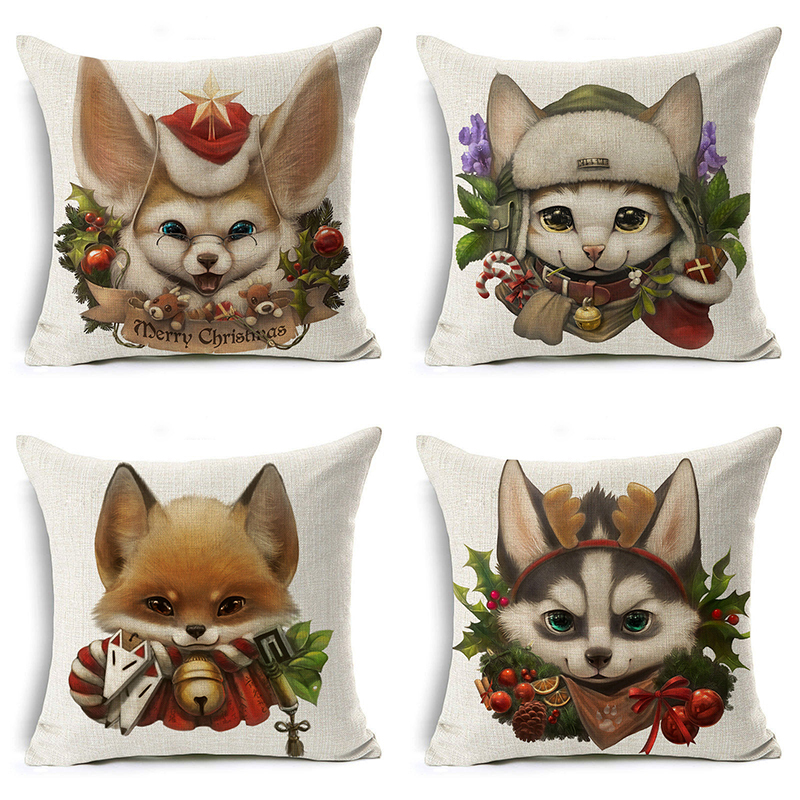 Merry Christmas Pillow Cover Santa Claus Husky Dog Letter Cushion Cover Decorative Throw Pillow Case Sofa Home Decor almofadas