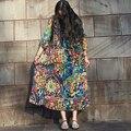 Осень Платье Хлопок Белье Плюс Размер Женщин Платье с Цветочным Принтом свободная Талия Три Четверти Рукав Длинный Платье O Шеи Длинные халат